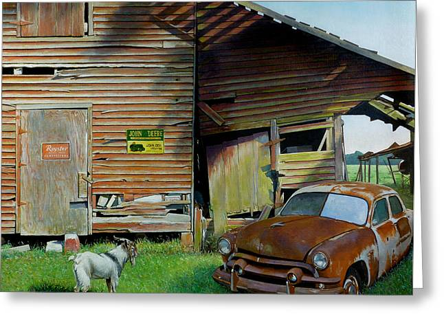 Road Travel Paintings Greeting Cards - Face-Off Greeting Card by Doug Strickland