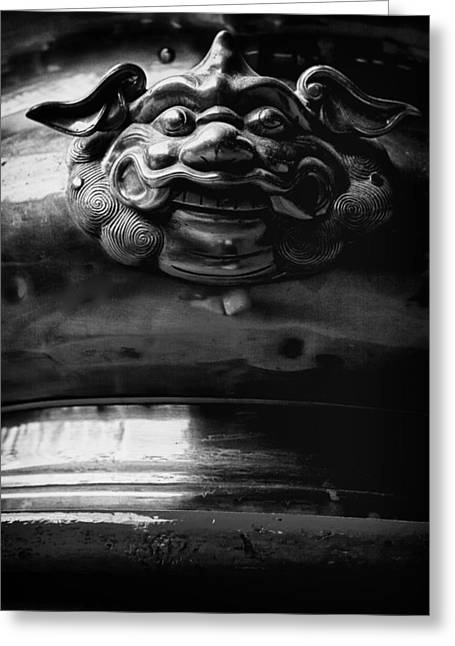 Incense Sticks Greeting Cards - Face on a Incense Pot taken in the Guan Di Temple in Ku Greeting Card by Zoe Ferrie