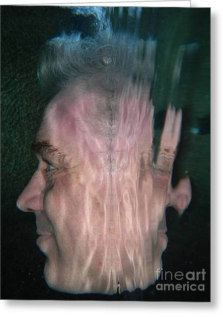 Gray Hair Greeting Cards - Face reflected underwater Greeting Card by Mats Silvan