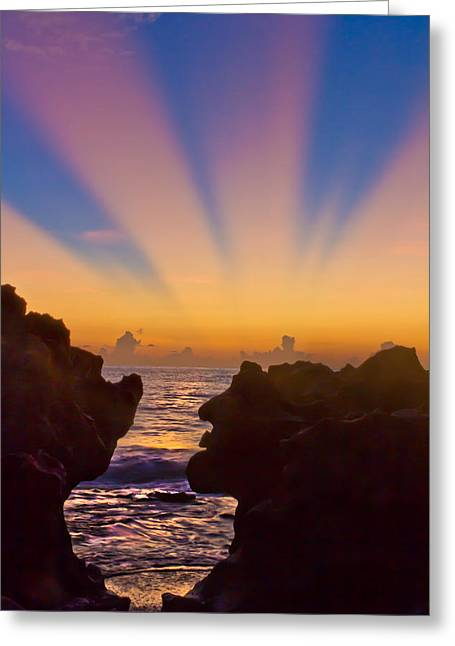 Colorful Sunset Greeting Cards Greeting Cards - Face the Morning Greeting Card by Debra and Dave Vanderlaan