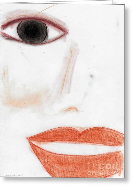 Imperfect Greeting Cards - Face Greeting Card by Vicki Ferrari