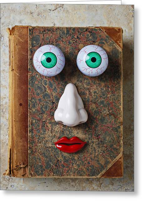 Playful Greeting Cards - Facebook old book with face Greeting Card by Garry Gay