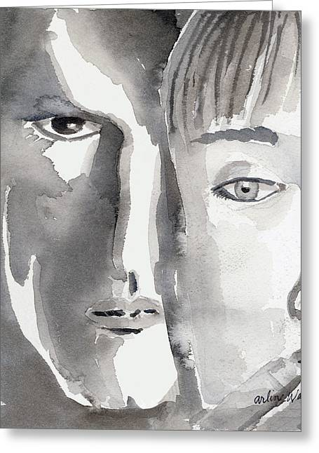 Two-faced Greeting Cards - Faces Greeting Card by Arline Wagner