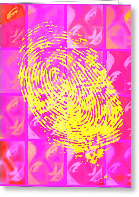 Negative Image Greeting Cards - Faces & Fingerprint Greeting Card by Mehau Kulyk