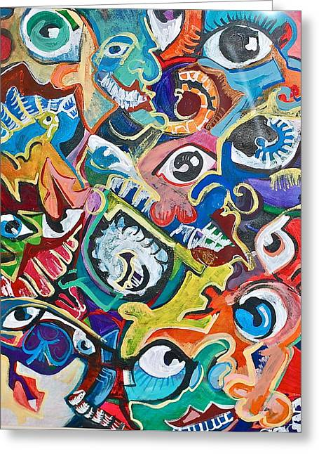 Jame Hayes Paintings Greeting Cards - Faces in a Crowd Greeting Card by Jame Hayes