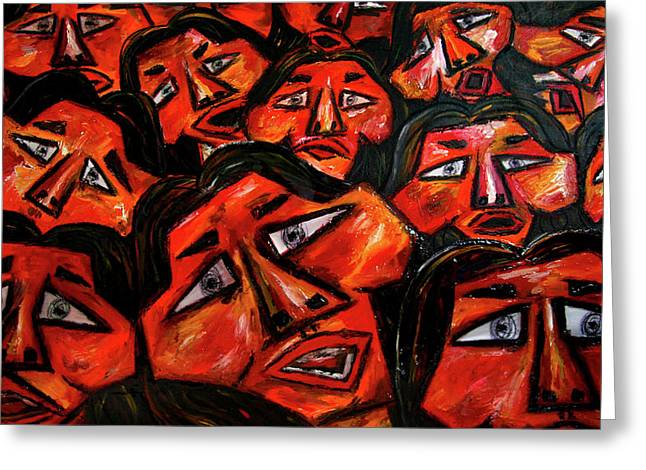 Mass Crowds Mixed Media Greeting Cards - Faces in the crowd Greeting Card by Karen Elzinga