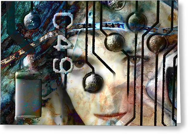 Editorial Mixed Media Greeting Cards - Faces No. 1 Greeting Card by Andre Giovina
