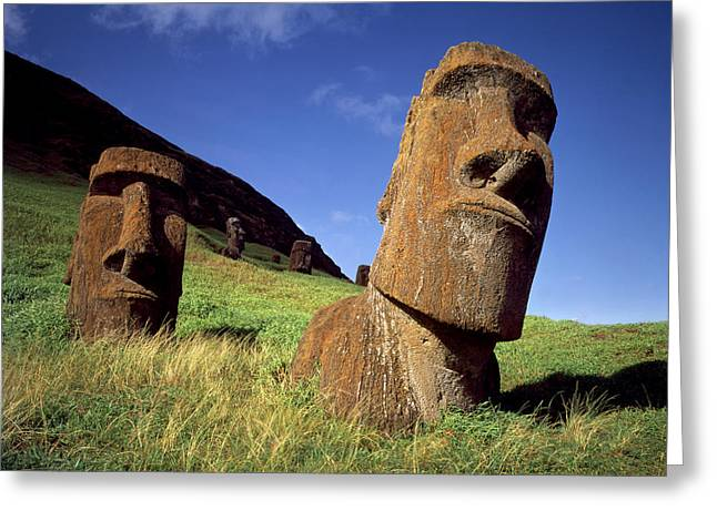 Moai Greeting Cards - Faces of Mystery Easter Island Heads Greeting Card by Cliff Wassmann