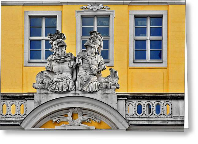 Old Building Greeting Cards - Faces of Places in Dresden Greeting Card by Christine Till