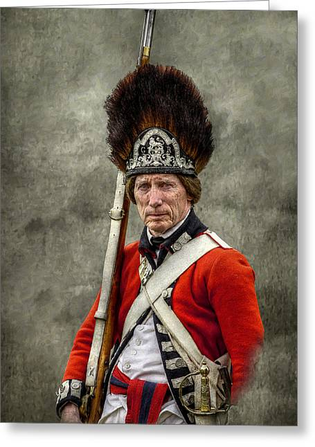 Fort Pitt Greeting Cards - Faces of the American Revolution British Soldier Portrait Greeting Card by Randy Steele