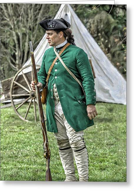 Fort Pitt Greeting Cards - Faces of the American Revolution Colonial Soldier Portrait Two  Greeting Card by Randy Steele