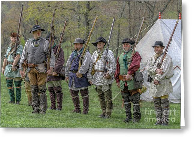 Fort Pitt Greeting Cards - Faces of the American Revolution Militia Soldiers     Greeting Card by Randy Steele