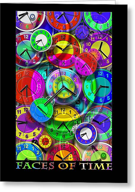 Clock Face Greeting Cards - Faces Of Time 1 Greeting Card by Mike McGlothlen