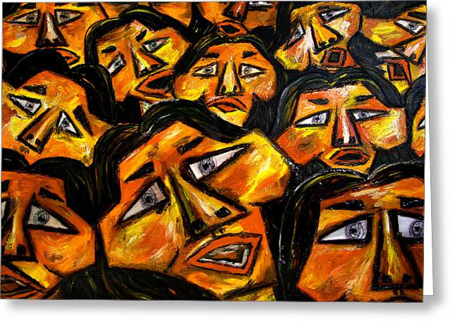 Faces yellow Greeting Card by Karen Elzinga