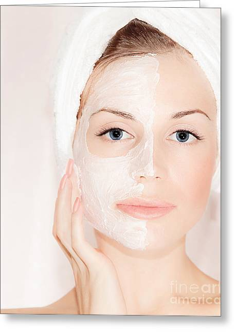 Bathe Greeting Cards - Facial mask on beautiful face Greeting Card by Anna Omelchenko