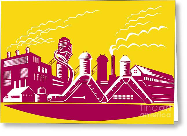 Manufacturing Digital Greeting Cards - Factory Building Power Plant Retro Greeting Card by Aloysius Patrimonio
