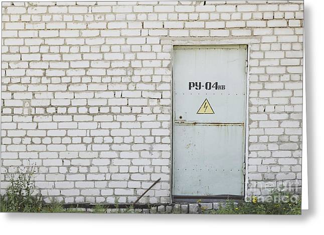 Electrocution Greeting Cards - Factory Entrance With a Warning Sign Greeting Card by Magomed Magomedagaev