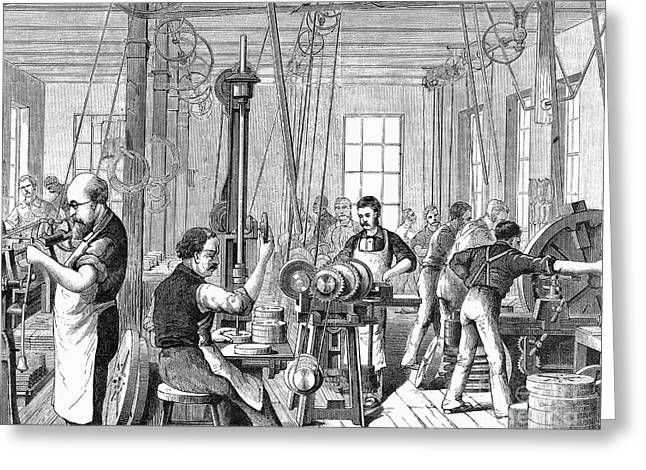 Apron Greeting Cards - Factory Interior, 1880 Greeting Card by Granger