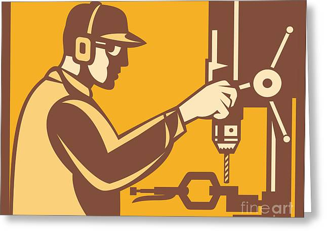Factory Workers Greeting Cards - Factory Worker Operator With Drill Press Retro Greeting Card by Aloysius Patrimonio