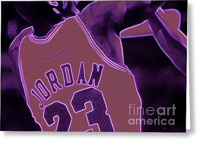 Michael Jordan Greeting Cards - Fade Away Greeting Card by Brandon Ramquist