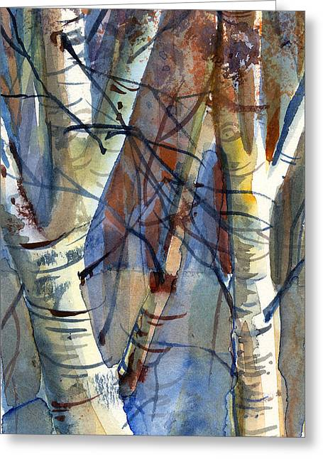 Birch Tree Drawings Greeting Cards - Fade to Autumn Greeting Card by Mindy Newman