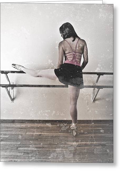 Ballet Bar Greeting Cards - Faded Ballerina Greeting Card by Scott Sawyer