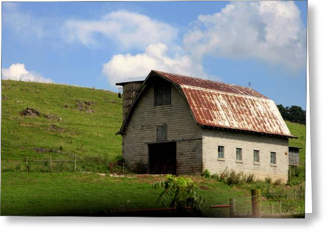Red Roofed Barn Greeting Cards - Faded Generations Greeting Card by Karen Wiles