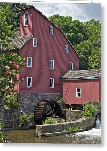 Red Mill Historic Village Greeting Cards - Faded Red Water Mill  Greeting Card by David Letts