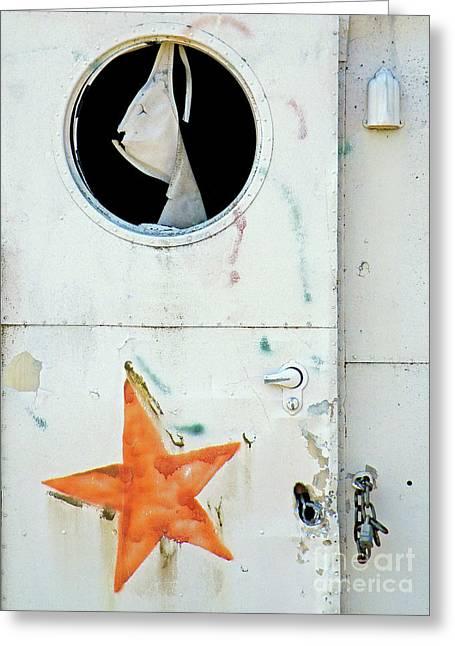 Framed Old Door Print Greeting Cards - Faded Star Greeting Card by Joe Jake Pratt