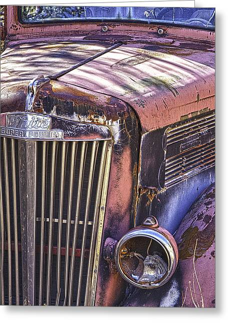Old Trucks Greeting Cards - Faded White Truck Greeting Card by Forest Alan Lee