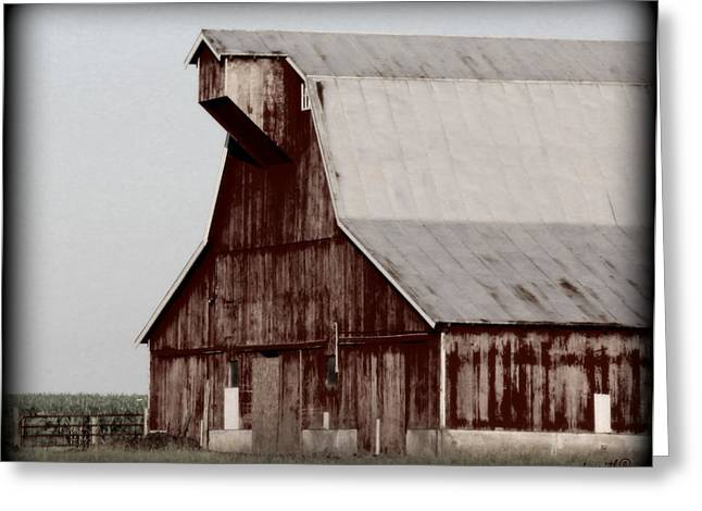Red Roofed Barn Greeting Cards - Fading Away Greeting Card by Ed Smith