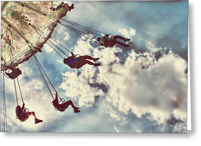 Action Photo Greeting Cards - Fair Swings Greeting Card by Darren Fisher