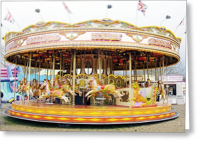 Whirligig Greeting Cards - Fairground Carousel Greeting Card by Johnny Greig