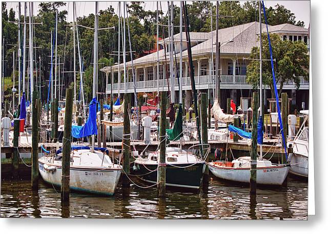 Crimson Tide Greeting Cards - Fairhope Yacht Club Sailboat Masts Greeting Card by Michael Thomas