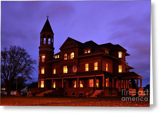 Misty Pine Photography Greeting Cards - Fairlawn Mansion at Night Greeting Card by Whispering Feather Gallery