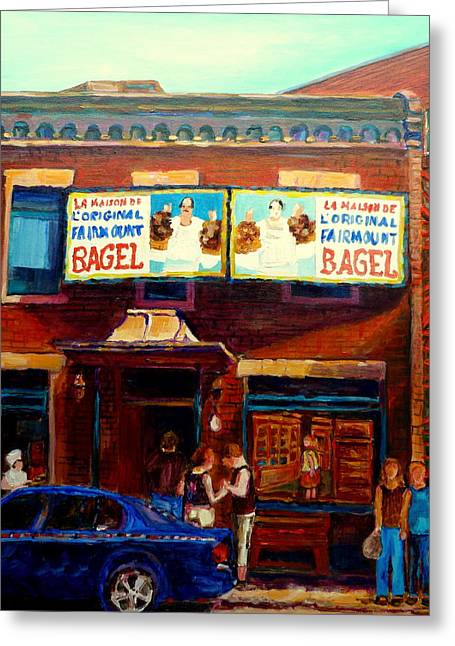 Out-of-date Greeting Cards - Fairmount Bagel By Montreal Streetscene Painter Carole  Spandau Greeting Card by Carole Spandau