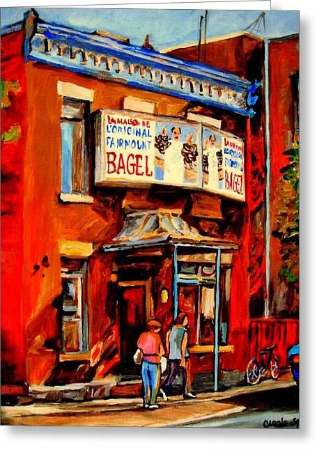 Classical Montreal Scenes Greeting Cards - Fairmount Bagel Montreal Greeting Card by Carole Spandau