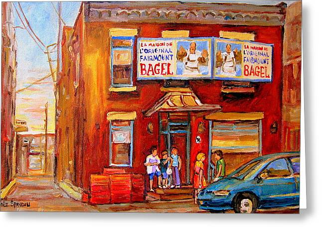 Plateau Montreal Paintings Greeting Cards - Fairmount Bagel Montreal Street Scene Painting Greeting Card by Carole Spandau