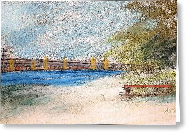 Fishermen Pastels Greeting Cards - Fairport Harbor Pier Greeting Card by Lisa Urankar