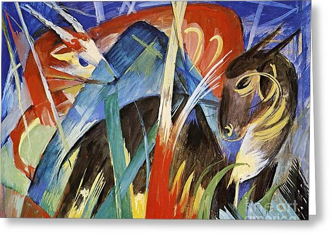 Expressionist Greeting Cards - Fairy Animals Greeting Card by Franz Marc