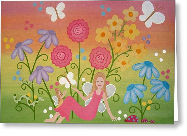Flower Pink Fairy Child Greeting Cards - Fairy Garden Greeting Card by Samantha Shirley