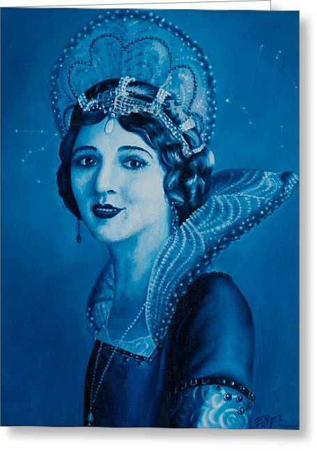 Phthalo Blue Greeting Cards - Fairy Godmother Greeting Card by Eliza Furmansky