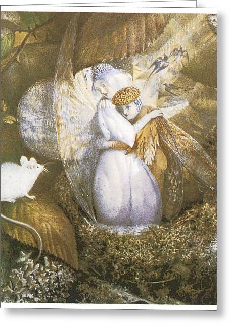 Birds In A Nest Greeting Cards - Fairy Lovers in a Birds Nest Greeting Card by John Anster Fitzgerald