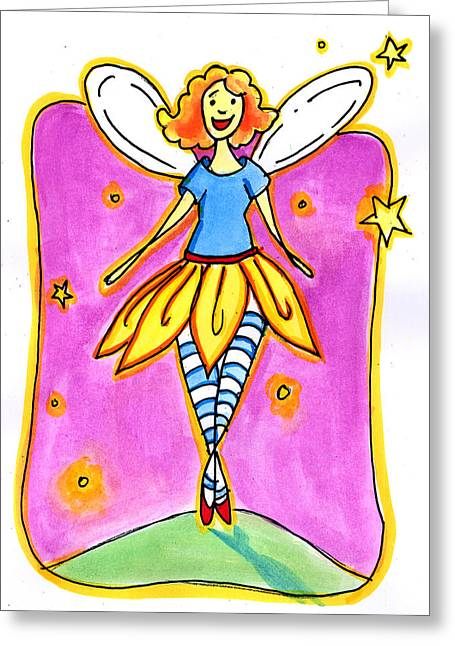 Flower Pink Fairy Child Greeting Cards - Fairy Note Greeting Card by Nada Meeks