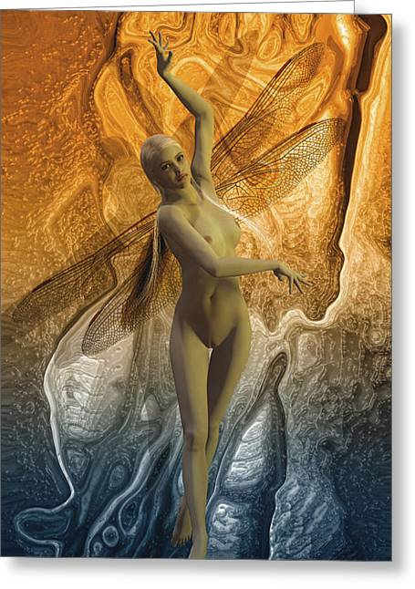 Dryad Greeting Cards - Fairy of water and fire Greeting Card by Joaquin Abella