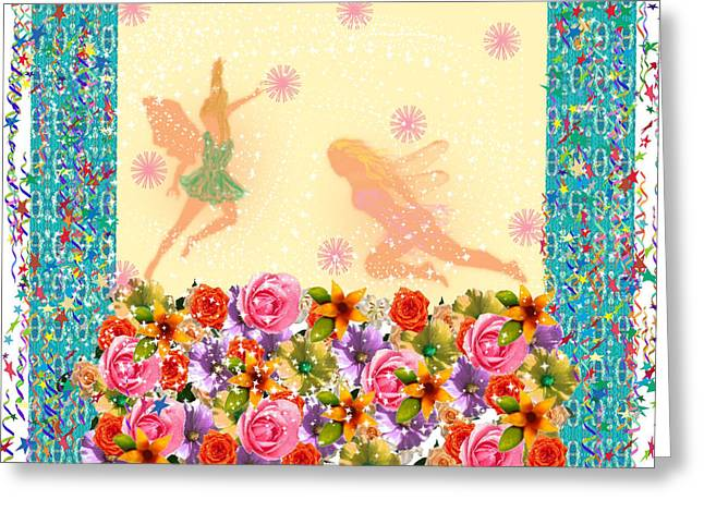 Faries Greeting Cards - Fairy Play Greeting Card by Rosalie Scanlon