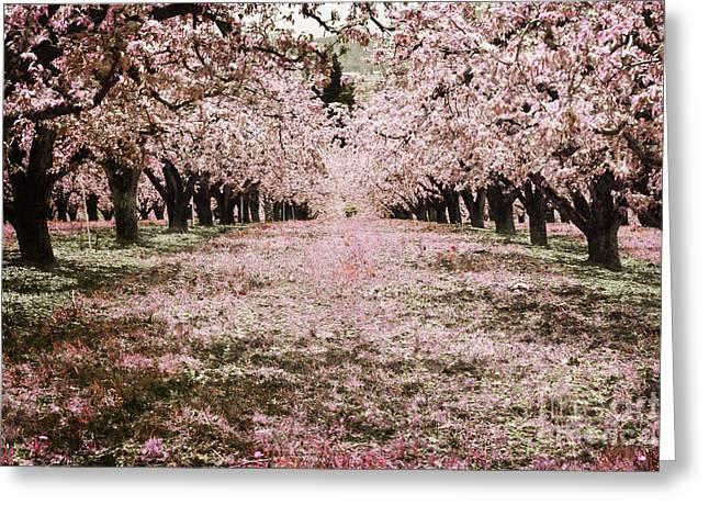 Pastel Mountains Prints Greeting Cards - Fairytale Orchard Pink Greeting Card by Andrea Hazel Ihlefeld