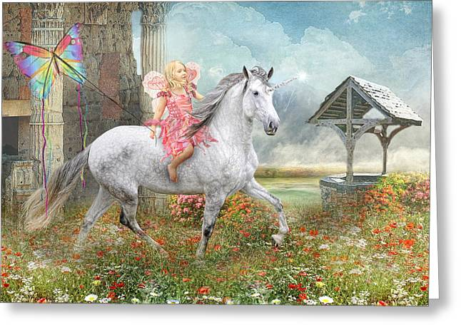Flower Pink Fairy Child Digital Art Greeting Cards - Fairytales and Wishing Wells Greeting Card by Trudi Simmonds