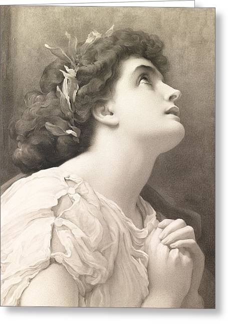 Praying Hands Paintings Greeting Cards - Faith Greeting Card by Frederic Leighton