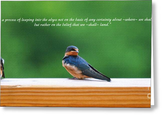 Baby Bird Greeting Cards - Faith Is Greeting Card by Diane E Berry